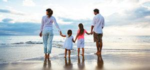 Family walking on Ponte Vedra Beach